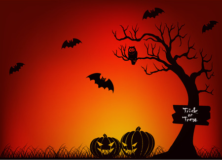 range fruit: Scary Halloween With Bat, Tree and Pumpkin