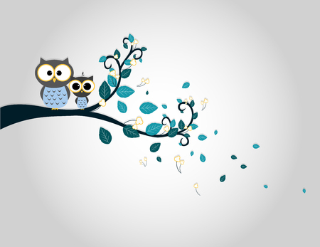 painting on the wall: Two cute owls on a tree branch silhouette