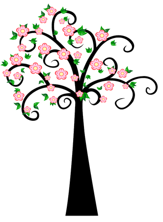 pink flower: Decorative Spring Tree Silhouette With Green Leaves and pink flower