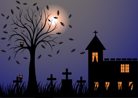 graves: Dark night with moon, bats, trees, graves and the church Illustration