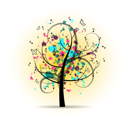 musical ornaments: Abstract Colorful Musical Tree Illustration