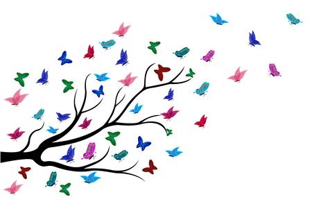 mariposas volando: Las mariposas volando entre las ramas de los �rboles