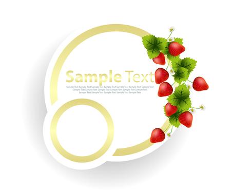 garnish: Banner with strawberries garnish Illustration