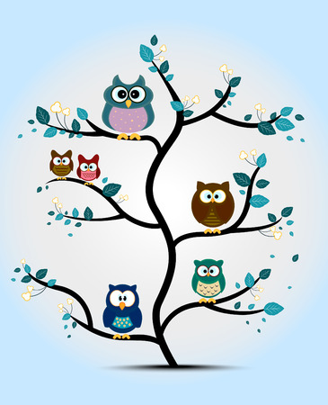 happy family nature: Owls perched on a tree Illustration