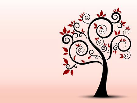 a sense of: Silhouette of a tree filled with a sense of art Illustration