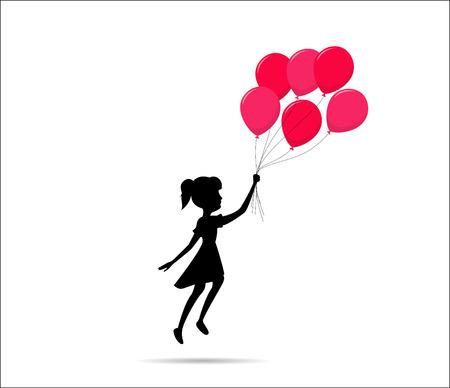 Vliegen meisje silhouet met een ballon Stock Illustratie