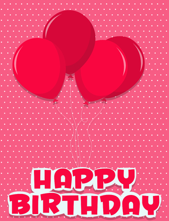streamers: Birthday card illustrated streamers and balloons Illustration