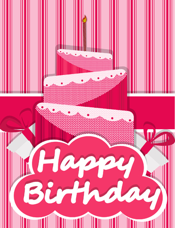 fancy pastry: Birthday card cake picture Illustration