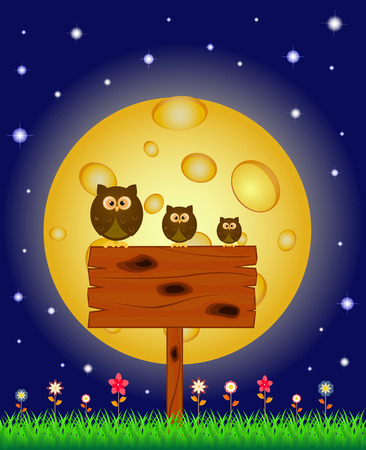 a bulletin board: Owl perched on a bulletin board under the full moon