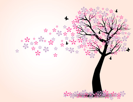 cherry trees: The silhouette of cherry trees and butterfly vector Illustration
