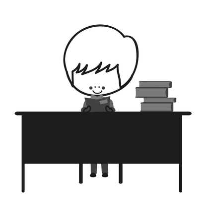 studious: Doodle Cute Little Boy Are Learning At His Desk Illustration