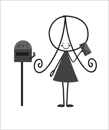 sending: Doodle Little girl Sending Letter