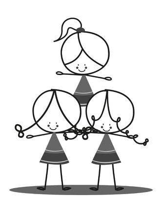 black cheerleader: Doodle Cheerleaders Illustration