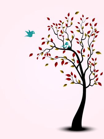 corazones azules: Familia de pájaro en el árbol