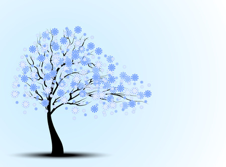 trees illustration: The silhouette of blue cherry trees
