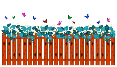 Decorative of Fence, Butterfly and leaf Illustration