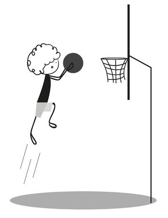 boy basketball: Doodle Little boy Playing Basketball