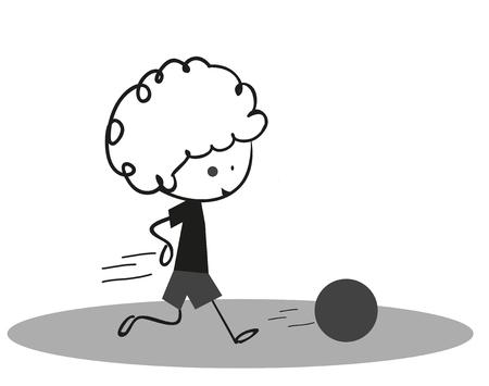 retro grunge: Doodle Little boy playing football - soccer Sport