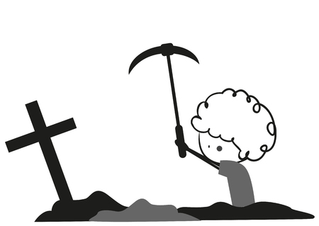 digging: Doodle digging graves Illustration