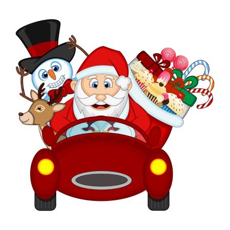 manejando: Papá Noel que conduce un coche rojo Junto Con El Reno, muñeco de nieve y trae muchos regalos Vectores