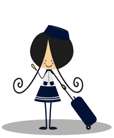 flight attendant: Doodle flight attendant - Full Color Illustration