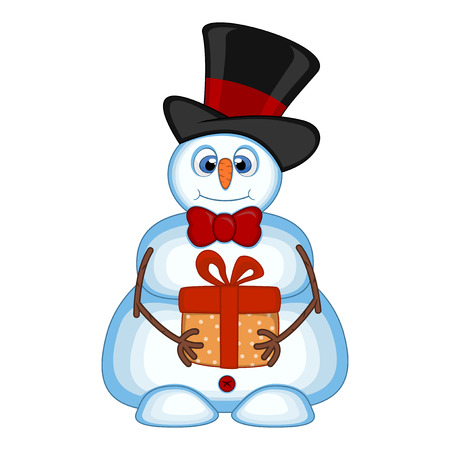 Snowman carrying a gift and wearing a hat and a bow ties for your design vector illustration