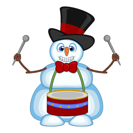 Snowman playing drums wearing a hat and a bow ties for your design vector illustration