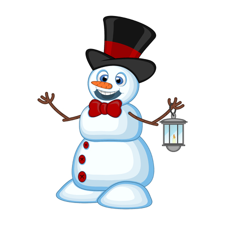 Snowman with a lantern and wearing a hat for your design Vector Illustration