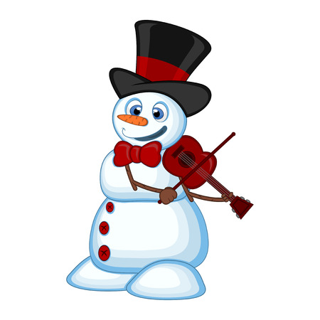 Snowman with hat and bow ties playing the violin for your design vector illustration Illustration