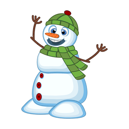 green eye: Snowman wearing a green head cover and a scarf for your design vector illustration