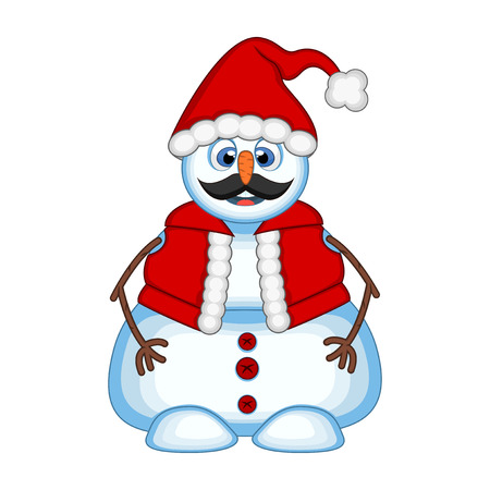Snowman with mustache wearing a Santa Claus costume for your design Vector Illustration