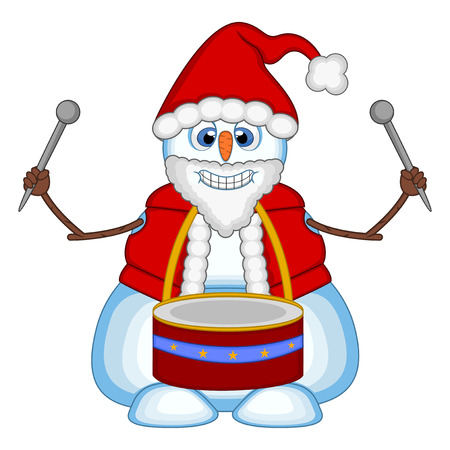 Snowman playing drums wearing a Santa Claus costume for your design Vector Illustration