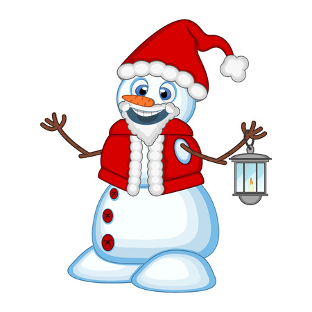 Snowman with a lantern and wearing a Santa Claus costume for your design Vector Illustration