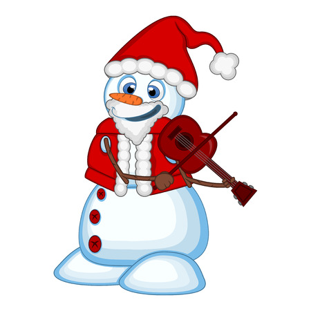 Snowman with santa claus costume playing the violin for your design vector illustration