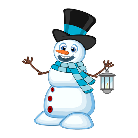 Snowman with a lantern and wearing a hat and a blue scarf for your design Vector Illustration