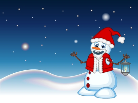 sky lantern: Snowman with a lantern and wearing a Santa Claus costume with star, sky and snow hill background for your design Vector Illustration