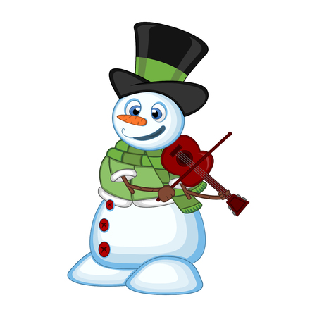 Snowman with hat, green sweater and green scarf playing the violin for your design vector illustration