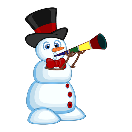 blowing nose: Snowman wearing a hat and a bow ties blowing horns Illustration