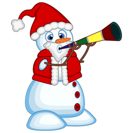 blowing nose: Snowman wearing a Santa Claus costume blowing horns