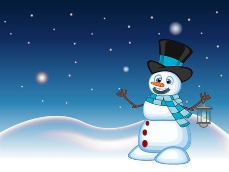 sky lantern: Snowman with a lantern and wearing a hat and a blue scarf with star, sky and snow hill background for your design Vector Illustration Illustration