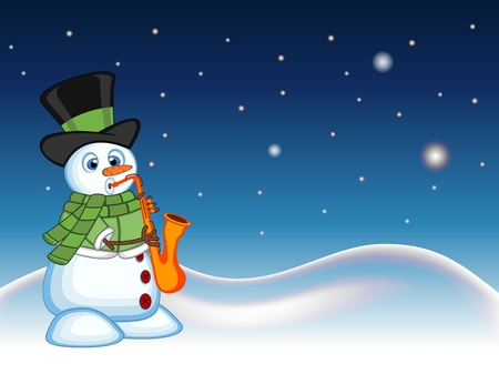 blowing nose: Snowman wearing a hat, green sweater and a green scarf playing saxophone with star, sky and snow hill background for your design vector illustration