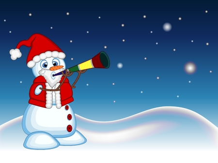 blowing nose: Snowman wearing a Santa Claus costume blowing horns with star, sky and snow hill background for your design Vector Illustration