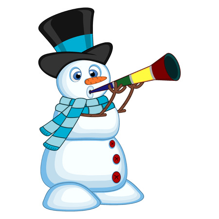 blowing nose: Snowman wearing a hat and a blue scarf blowing horns