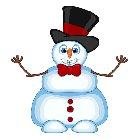 Snowman wearing a hat and bow ties waving his hand for your design vector illustration