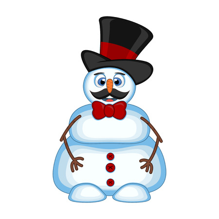 Snowman with mustache wearing a hat and bow ties for your design vector illustration