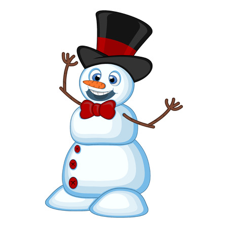Snowman wearing a hat and a bow ties for your design vector illustration