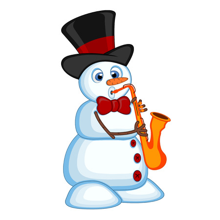 Snowman wearing a hat and a bow ties playing saxophone for your design vector illustration Illustration