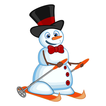 Snowman wearing a hat and a bow ties is skiing for your design vector illustration