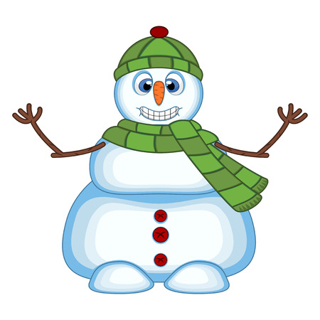 Snowman wearing a green hat and green scarf waving his hand for your design vector illustration Illustration