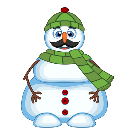 Snowman with mustache wearing green head cover and green scarf for your design vector illustration